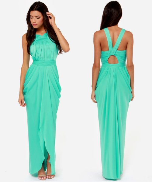 elegant mint bridesmaid summer dress 2014