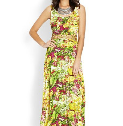 green yellow floral summer maxi dress 2014 by Forever 21