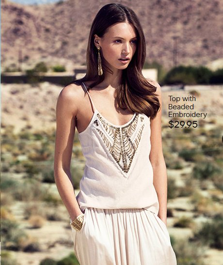 h-m light beaded top with maxi skirt 2014