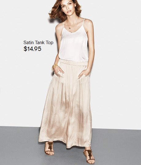 light satin top and skirt h and m 2014