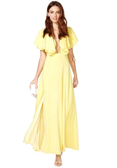 long yellow summer dress 2014 with deep laced V-neck, ruffle sleeves and flowy skirt with a slit
