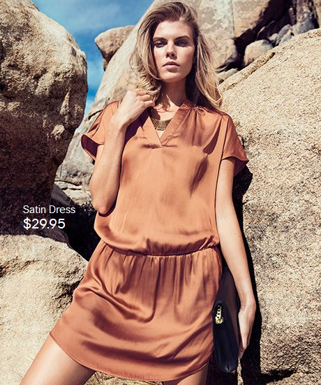 rusty satin hm summer dress 2014