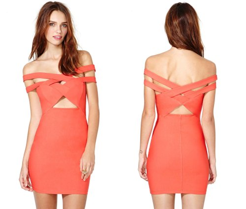 sexy orange cut out summer party dress 2014