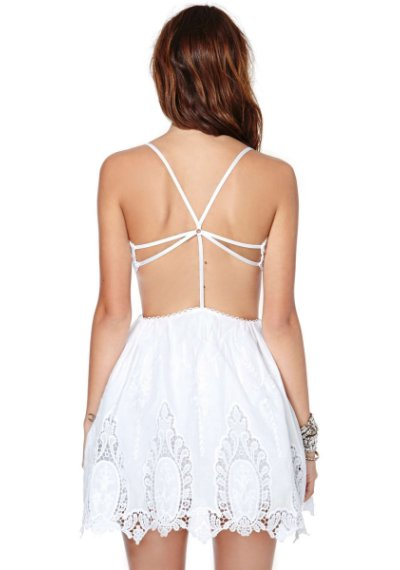 white lace summer skater dress 2014 by nasty Gal with side cutout and low back-