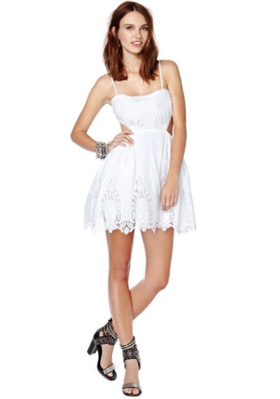 white lace summer skater dress 2014 by nasty Gal with side cutout and low back