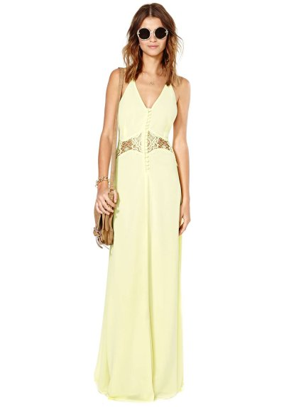 yellow maxi summer dress with lace cutouts by Nasty Gal 2014