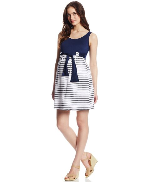 cute navy stripes maternity summer dress 2014