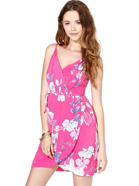hot pink floral summer dress 2014 by Nasty Gal with v-neckline and faux wrap design