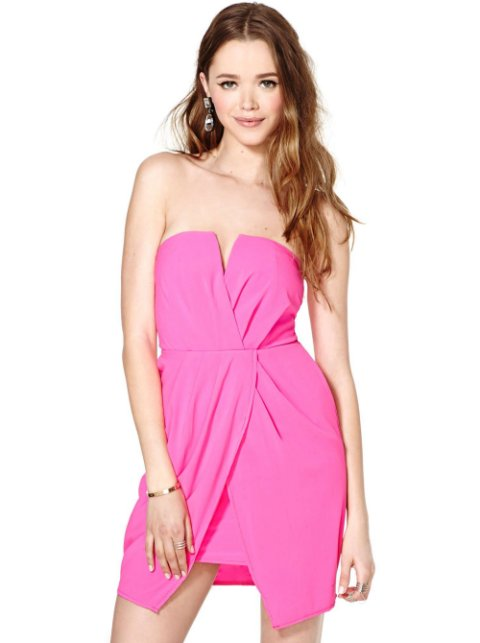 hot pink short summer dress 2014 with strapless bodice and faux wrap front