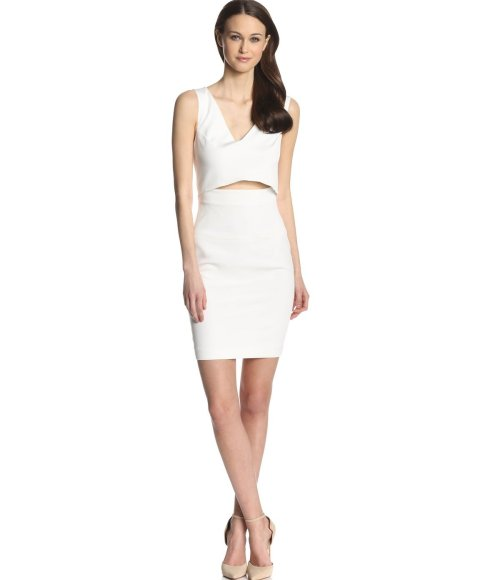 Glamorous white summer dress 2014 from French Connection with front cut out and V-neck