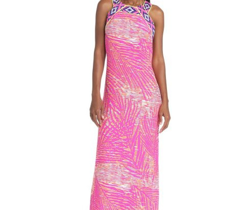 beautiful Michelle Paradise Palm Halter pink maxi dress 2014