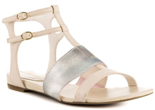 cute and casual ivory-silver strappy summer shoes 2014 by Enzo Angiolini