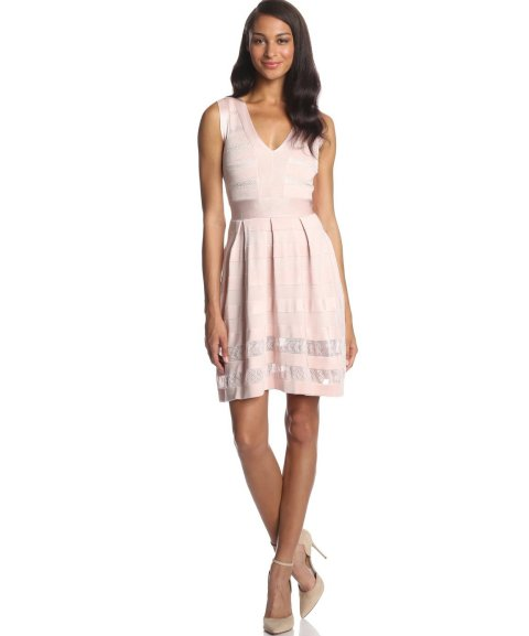 short pale pink French Connection summer dress 2014 with V-neck