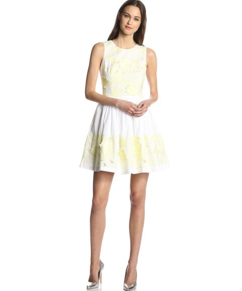 short white yellow lotus French Connection summer dress 2014