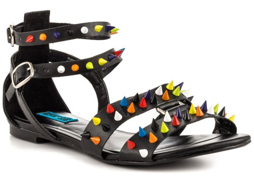 spicy black summer shoes 2014 with colorful spikes by Penny Sue