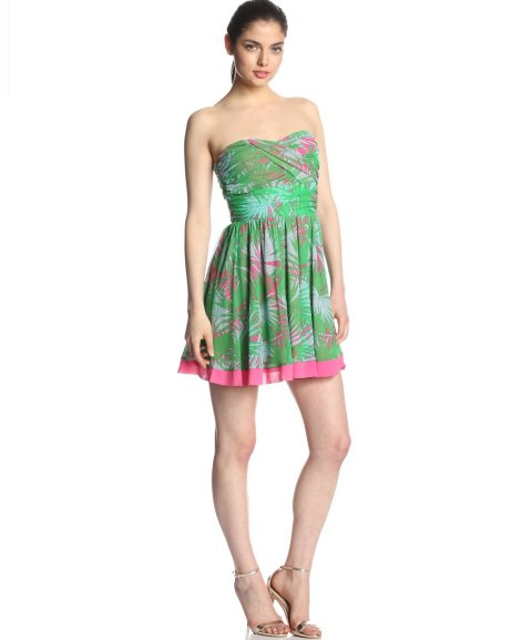 strapless flirty pink green palm tree summer dress 2014 by Juicy Couture