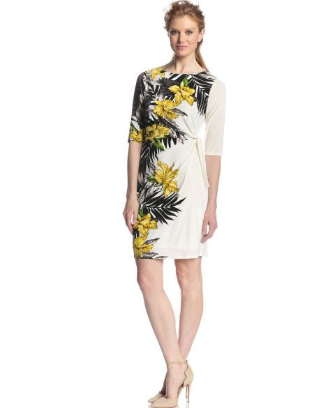 tropical white-yellow-black summer dress 2014 with sleeves by Tiana B