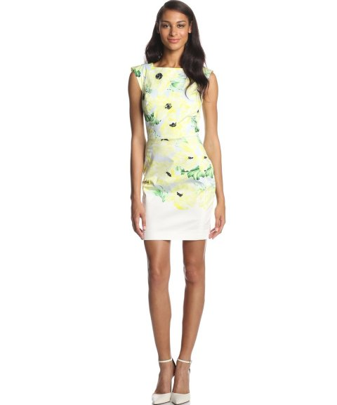 tropical white-yellow poppy flowers summer dress 2014 by French Connection