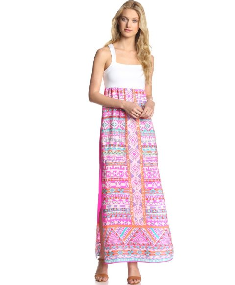 white pink summer maxi dress 2014 with tribal pattern