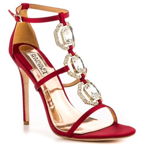 Sexy red summer high heels with silver rhinestones by Badgley Mischka