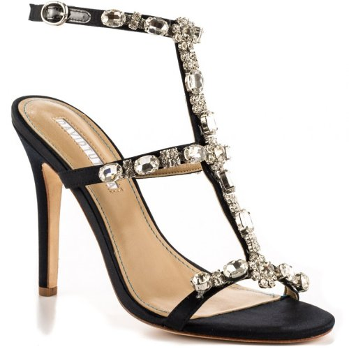 Sexy strappy black summer shoes with silver rhinestones by David Tutera