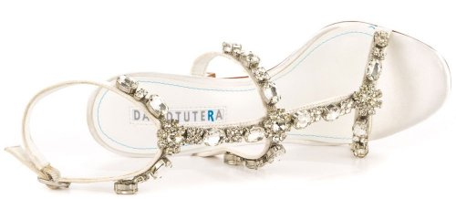 Sexy white summer high heel sandals with silver rhinestones by David Tutera