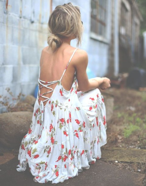 beautiful white summer dress with red flowers and lace up low back