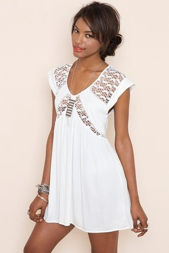 cute short white summer dress with see through lace details