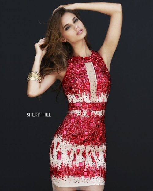gorgeous nude-red summer cocktail dress with red rhinestone embellishment by Sherri Hill