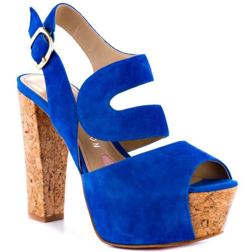 high heel cork sandals with blue suede straps 2014 by paris hilton