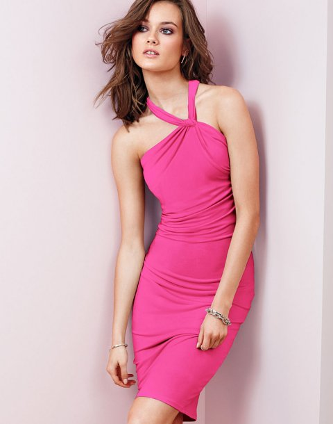 pink high neck summer party dress 2014 by victoria secret