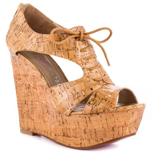 sexy cork sandals wedge 2014 by Paris hilton