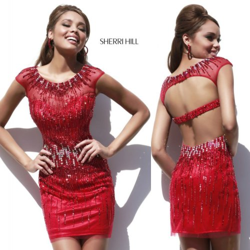 sexy hot red sequined cocktail summer dress with open back and cap sleeves by Sherri Hill