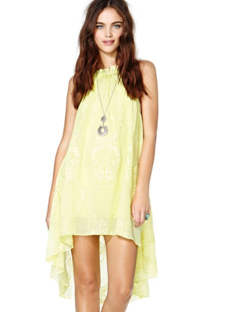 short lemon yellow summer dress 2014 with halter top and assymetrical hem