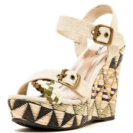 strappy Beige Geometric wedge summer shoes 2014 by top moda