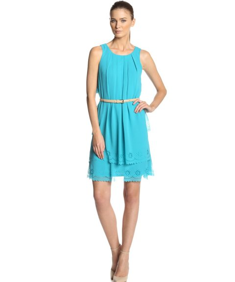 stunning blue Jessica Simpson summer dress 2014 with laser cut trim and cream belt