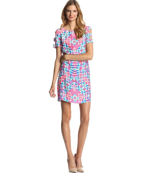 Alice & Trixie short pink-blue printed summer dress