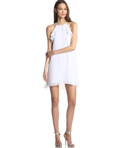 Flowy white summer dress by BCBGeneration with ruffled details around the neck