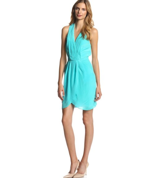 agua blue-greenish summer wedding guest dress with tulip skirt by Greylin