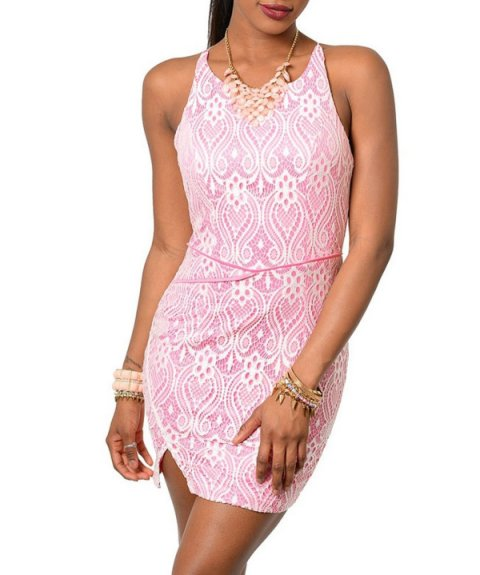 beautiful pink summer dress by DHStyles with white lace overlay