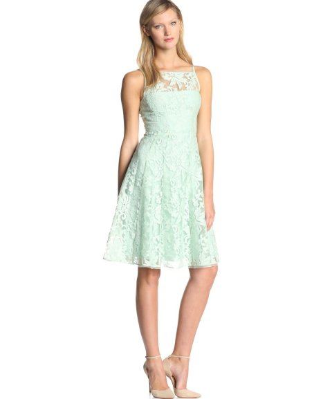 Stunning lace mint summer dress for a wedding guest with flared knee ...
