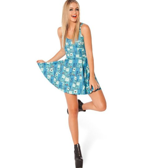 short blue back to school summer dress with BMO print by Ninimour
