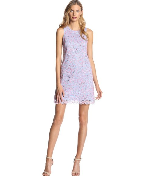 short lavender-blue lace summer dress for wedding guest by Cynthia Steffe