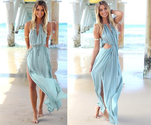 flowy blue summer mermaid dress