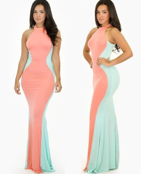 colorblock peach-mint summer mermaid maxi dress 2015 gojane