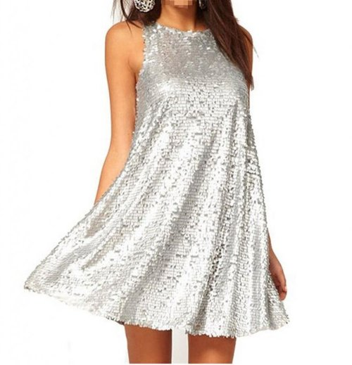 cute silver sequin loose summer dress with high neckline 2015 by WIIPU
