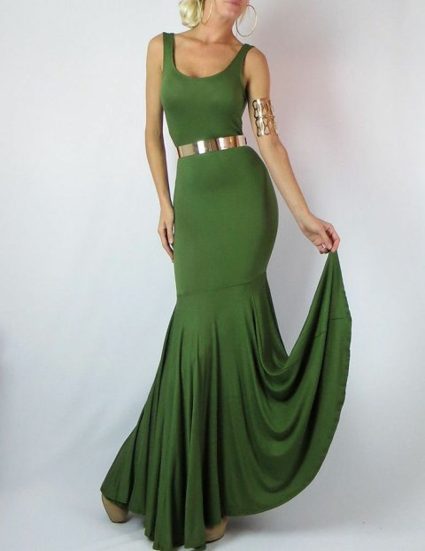 elegant green mermaid maxi summer dress with gold belt