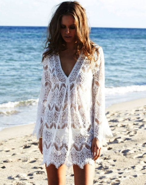 gorgeous white lace long sleeve beach summer cover up 2015 by Melissa Odabash Elizabeth
