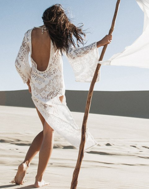 long white lace summer beach dress 2015 with long sleeves and low back