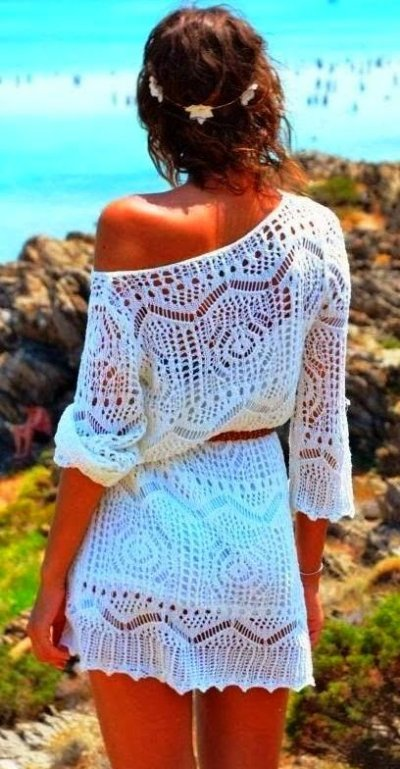 short white lace beach summer dress 2015 with three quarter sleeves